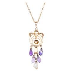 Antique Art Nouveau Drop Necklace Briolette Amethyst Diamond Pearls 10k Gold