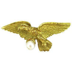 Antique Art Nouveau Eagle Pearl Brooch Pendant, 18kt Yellow Gold, circa 1905