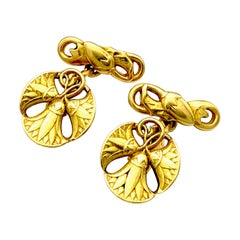 Antique Art Nouveau Egyptian Revival Lotus Flowers Gold Cufflinks France