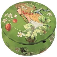 Antique Art Nouveau Enameled Green Satin Glass Dresser Jar or Box