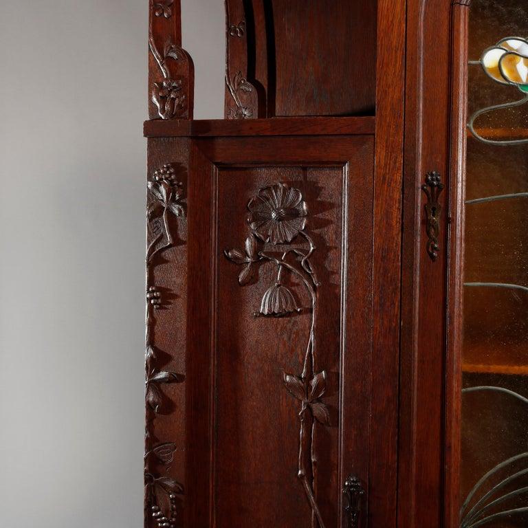 Antique Art Nouveau Sarah Bernhardt Oak & Leaded Glass Door Bookcase, c 1900 3