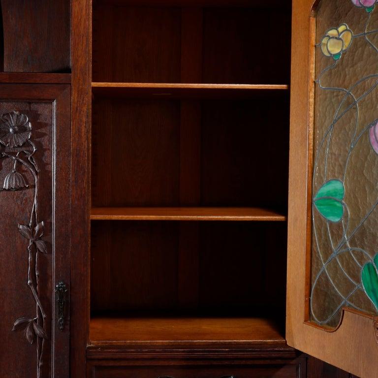 Antique Art Nouveau Sarah Bernhardt Oak & Leaded Glass Door Bookcase, c 1900 4