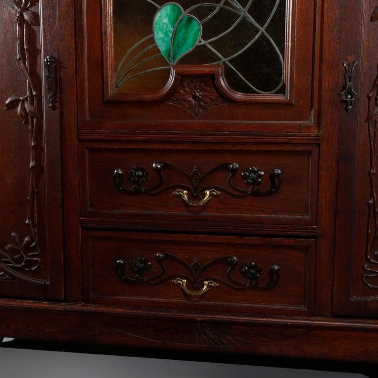 Antique Art Nouveau Sarah Bernhardt Oak & Leaded Glass Door Bookcase, c 1900 6