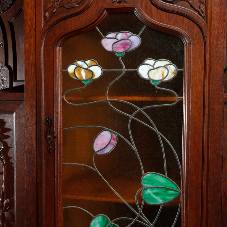 European Antique Art Nouveau Sarah Bernhardt Oak & Leaded Glass Door Bookcase, c 1900