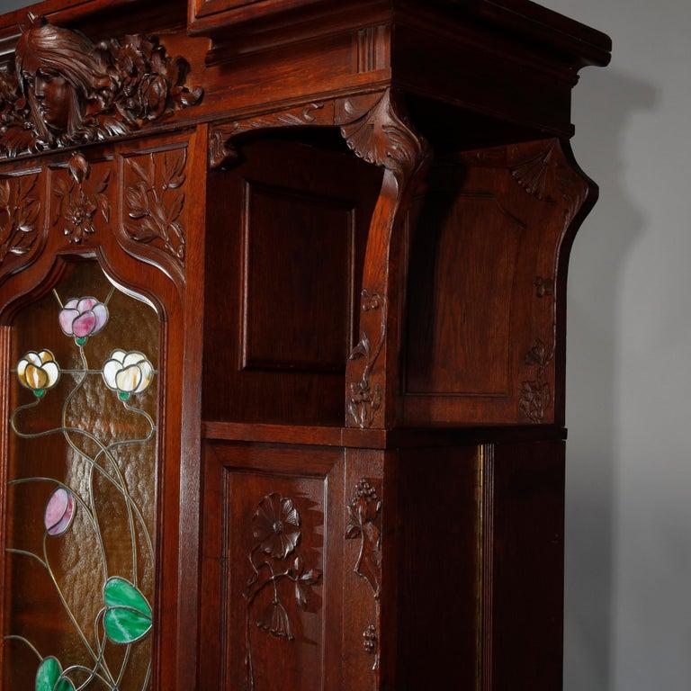 Carved Antique Art Nouveau Sarah Bernhardt Oak & Leaded Glass Door Bookcase, c 1900