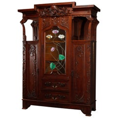Antique Art Nouveau Sarah Bernhardt Oak & Leaded Glass Door Bookcase, c 1900