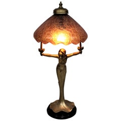 Antique Art Nouveau Figural Young Female Table Lamp with an Art Glass Shade
