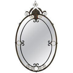 Antique Art Nouveau Floral Wrought Iron Frame Oval Wall Console Mirror