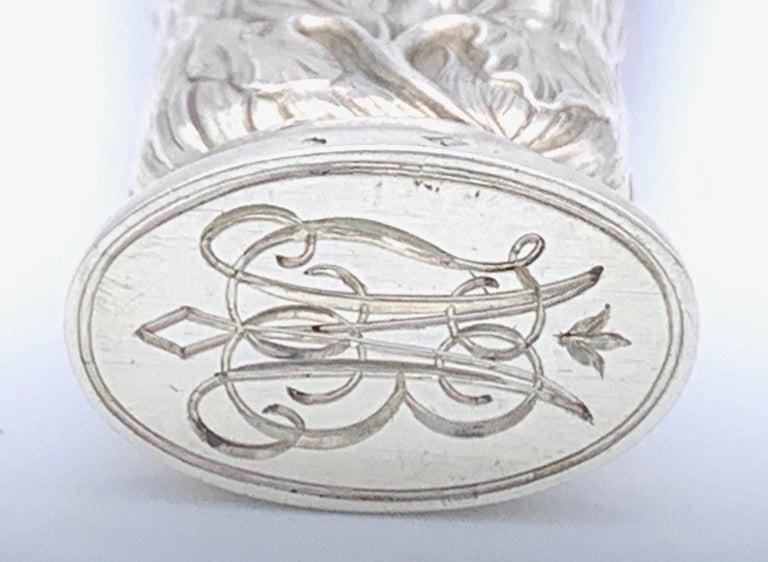 Antique Art Nouveau Fluorite Fluorspar Silver Iris Seal For Sale 1