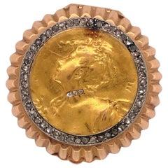 Antique Art Nouveau French Rose Cut Diamond 18 Karat Yellow and Rose Gold Box