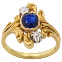 Antique Art Nouveau French Sapphire and Diamond Ring