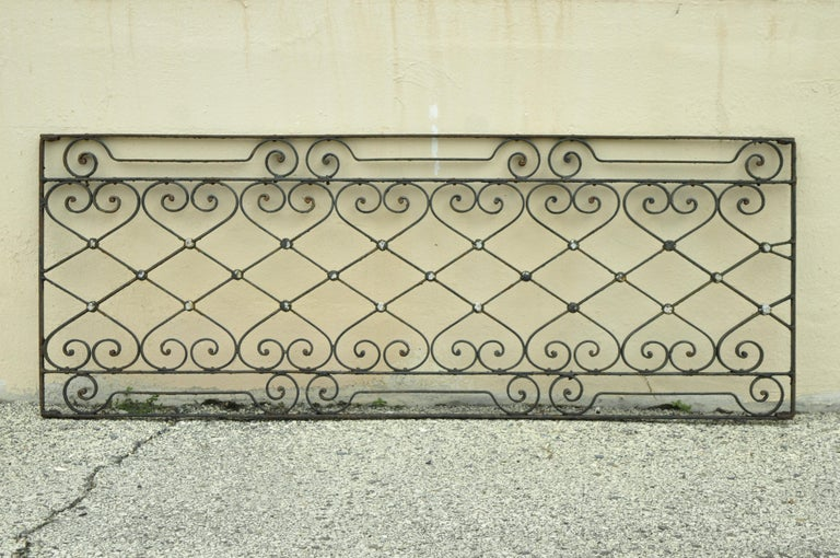 Antique Art Nouveau French style wrought iron scrolling scrollwork 24 x 64 gate. Item features ornate scrollwork, wrought iron construction, very nice antique item, circa 1900. Measurements: 24
