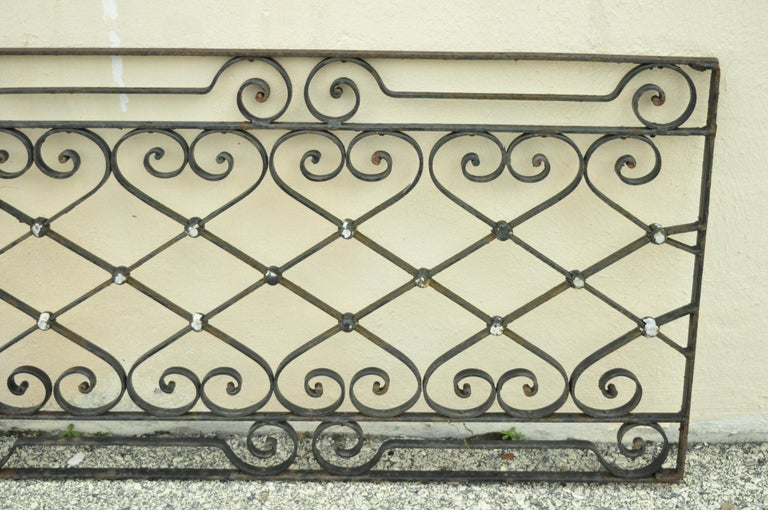 20th Century Antique Art Nouveau French Style Wrought Iron Scrolling Scrollwork Gate For Sale