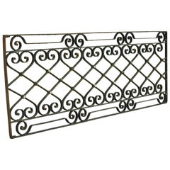 Antique Art Nouveau French Style Wrought Iron Scrolling Scrollwork Gate