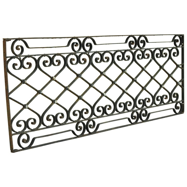Antique Art Nouveau French Style Wrought Iron Scrolling Scrollwork Gate For Sale