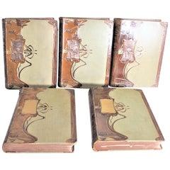 Antique Art Nouveau German Leather Bound Encyclopedia of Scientific Inquiry Set