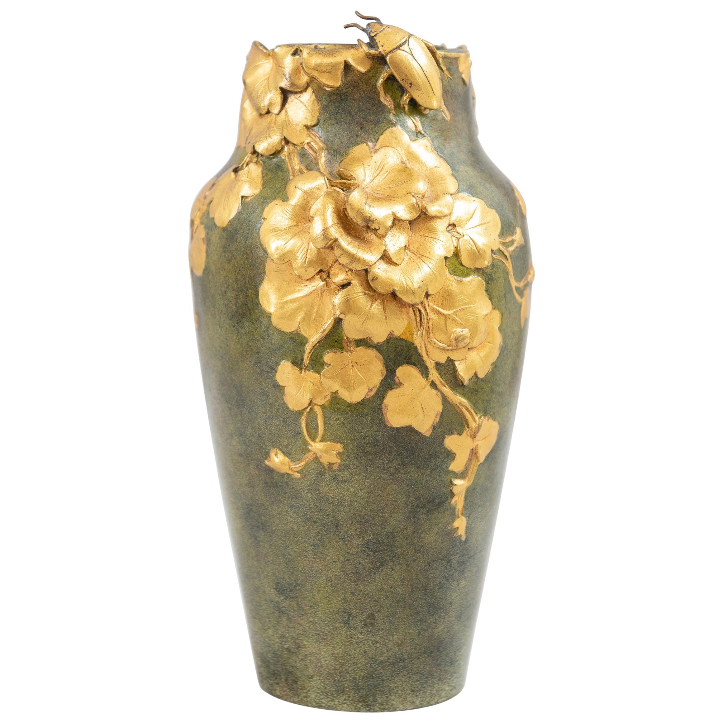 Antique Art Nouveau Gilt and Patinated Bronze Vase, Artist Signed