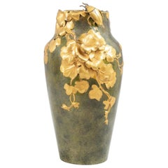 Antique Art Nouveau Gilt and Patinated Bronze Vase, Artist Signed