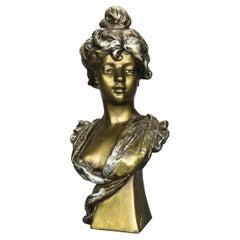 Antique Art Nouveau Gilt Plaster Portrait Bust Sculpture of Woman, Circa 1910