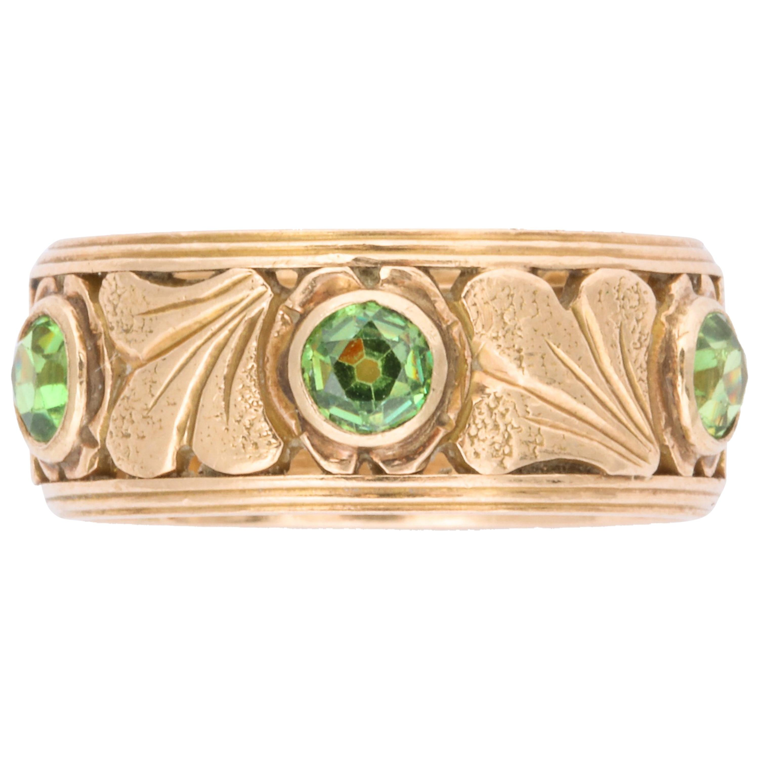 Antique Art Nouveau Gold and Demantoid Ring with Ginko Leaves