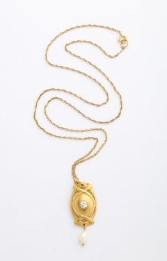 Antique Art Nouveau Gold Diamond Pendant