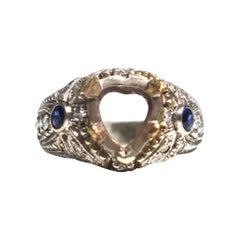 Antique Art Nouveau Heart-Shaped Diamond and Sapphire Ring Setting