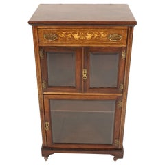 Antique Art Nouveau, Inlaid Rosewood, Music Cabinet, Scotland 1900, B2160