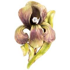 Antique Art Nouveau Iris Enamel Brooch Diamond 14 Karat Gold Vintage Flower