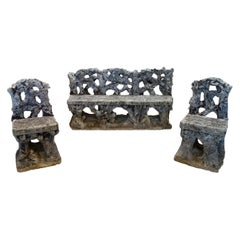 Antique Art Nouveau Italian Garden Carved Stone Faux Bois Bench & Pair of Chairs