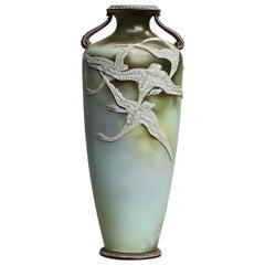 Antique Art Nouveau Japanese Nippon Moriage Porcelain Urn Vase with Geese
