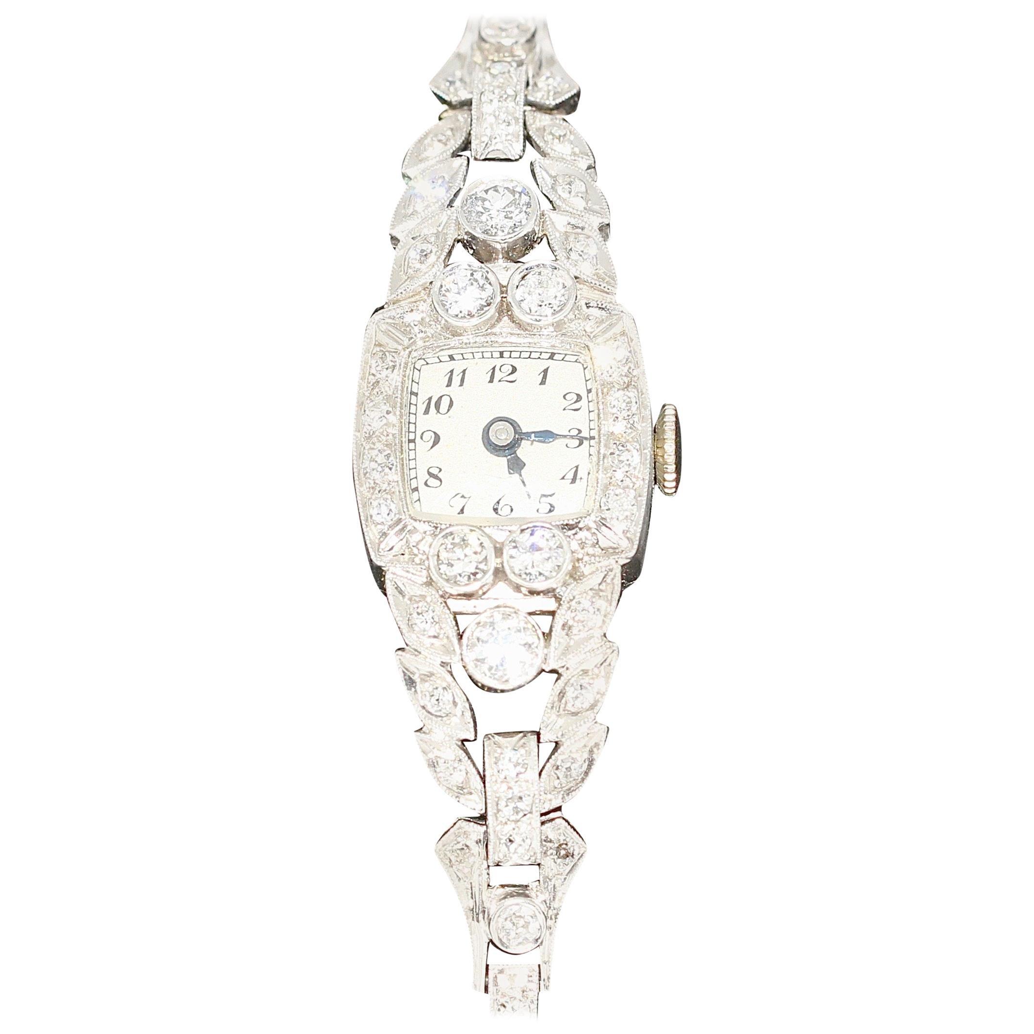 Antique Art Nouveau Ladies Wrist Watch, Platinum with Diamonds