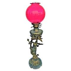 Antique Art Nouveau Lady Lamp, Bronze