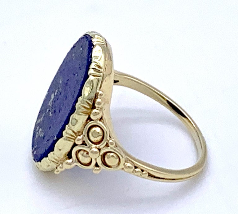 Women's or Men's Antique Art Nouveau Lapis Lazuli Gold Signet Ring For Sale