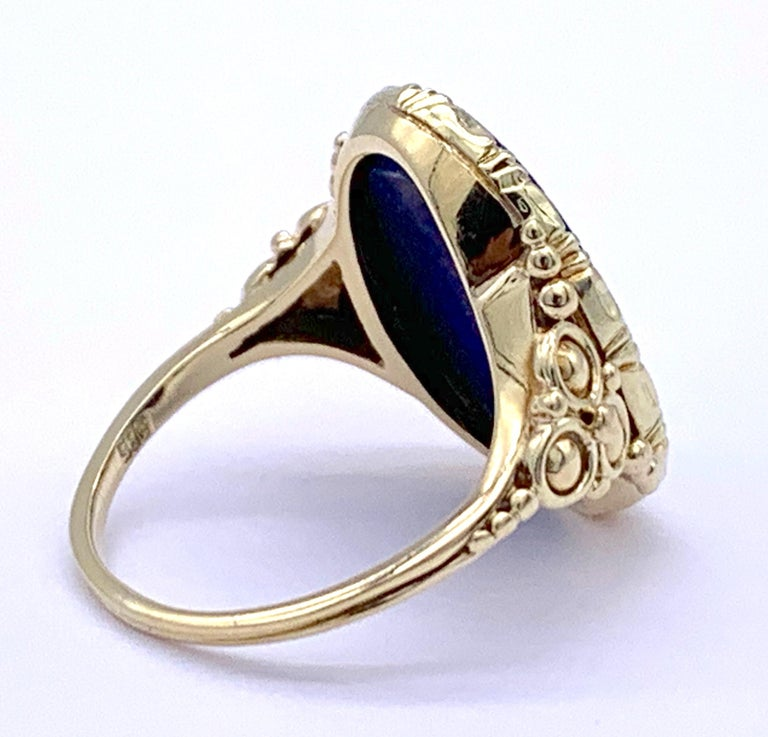 Antique Art Nouveau Lapis Lazuli Gold Signet Ring For Sale 1