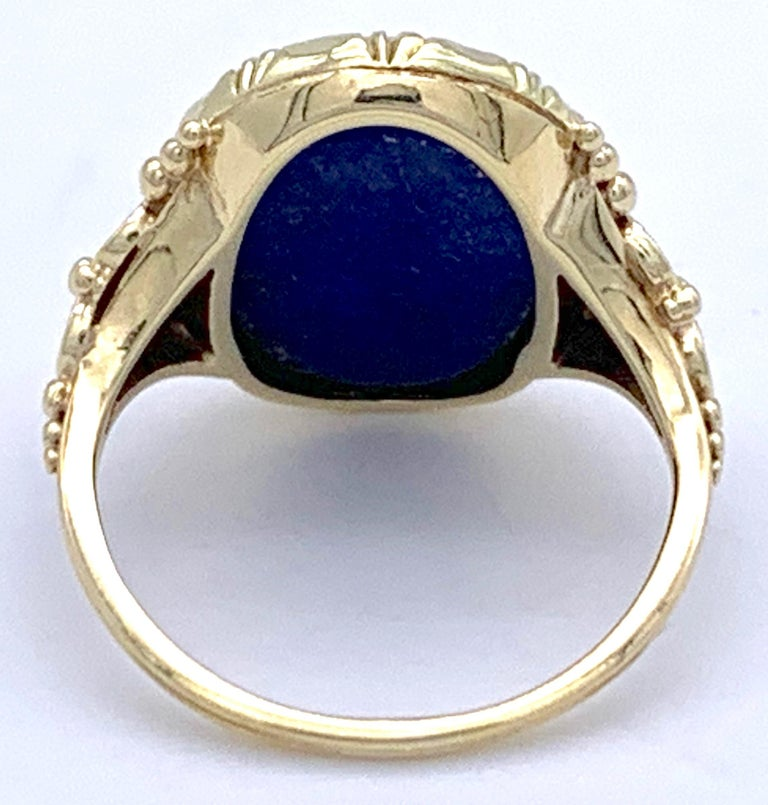 Antique Art Nouveau Lapis Lazuli Gold Signet Ring For Sale 3