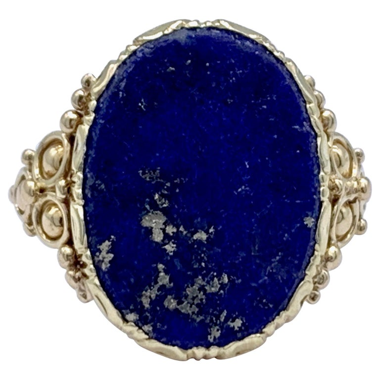 Antique Art Nouveau Lapis Lazuli Gold Signet Ring For Sale
