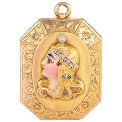 Antique Art Nouveau Locket 14k Yellow Gold Woman Enamel Diamond Pendant Jewelry