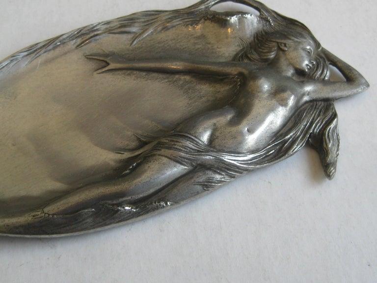 Antique Art Nouveau Nude Lady Woman Figural E.P.U. Relief Design Pewter Tray For Sale 6