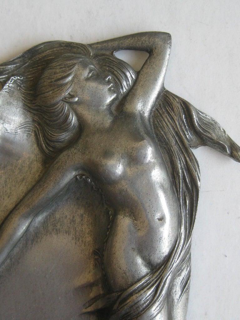 20th Century Antique Art Nouveau Nude Lady Woman Figural E.P.U. Relief Design Pewter Tray For Sale