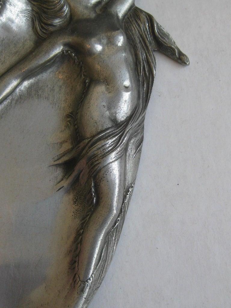 Antique Art Nouveau Nude Lady Woman Figural E.P.U. Relief Design Pewter Tray For Sale 2