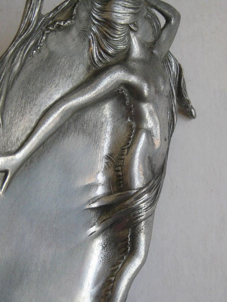 Antique Art Nouveau Nude Lady Woman Figural E.P.U. Relief Design Pewter Tray For Sale 3