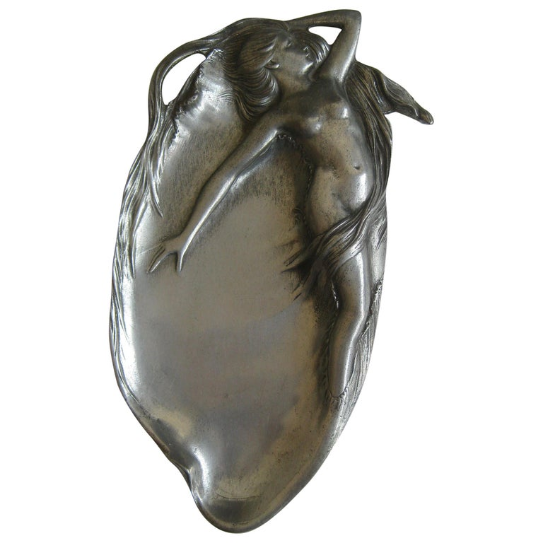 Antique Art Nouveau Nude Lady Woman Figural E.P.U. Relief Design Pewter Tray For Sale