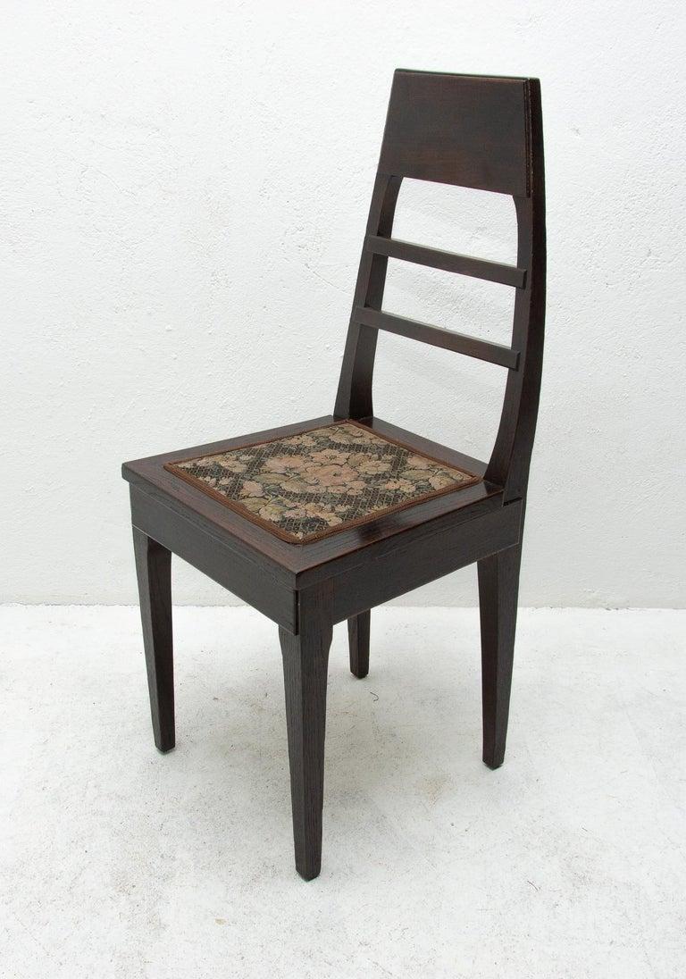 Antique Art Nouveau Oak Dining Chairs, Set of 4 For Sale 5