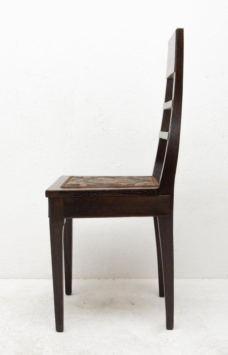 Antique Art Nouveau Oak Dining Chairs, Set of 4 For Sale 6