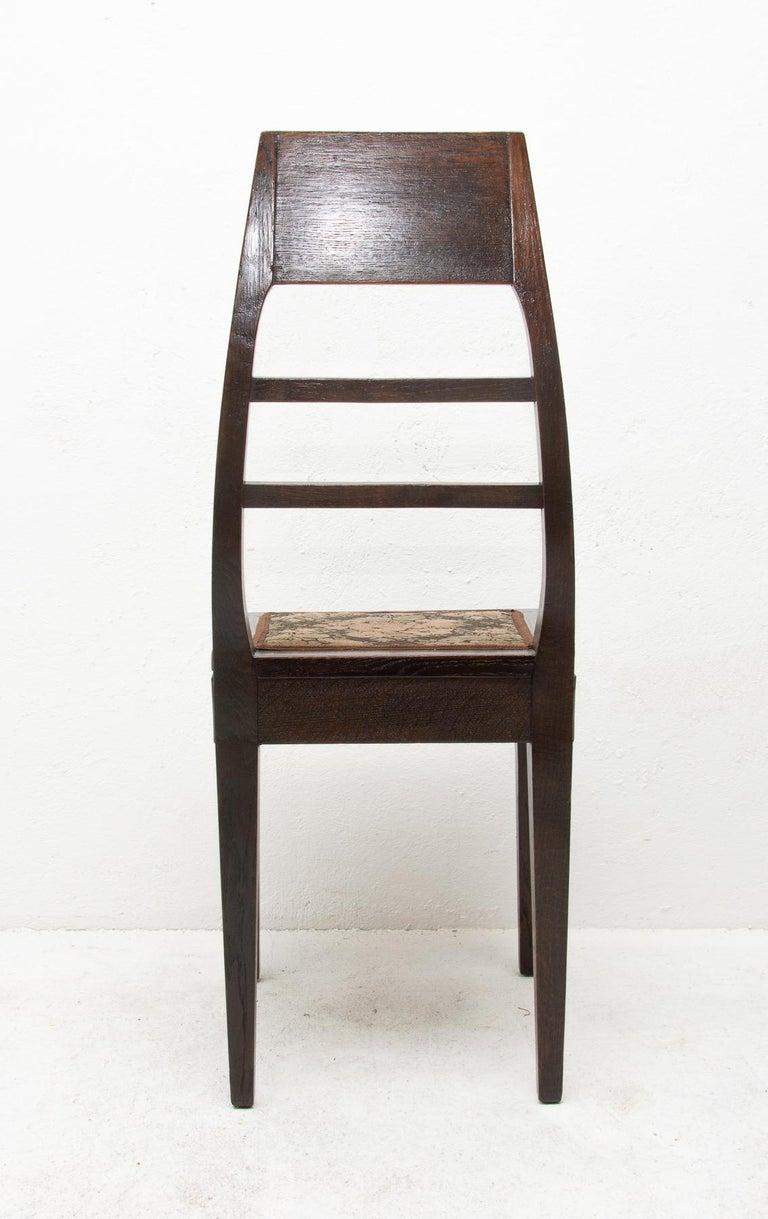 Antique Art Nouveau Oak Dining Chairs, Set of 4 For Sale 7