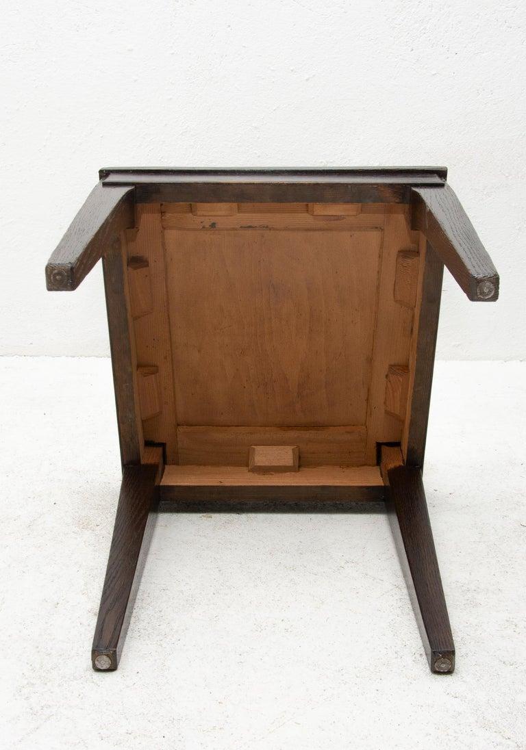 Antique Art Nouveau Oak Dining Chairs, Set of 4 For Sale 8