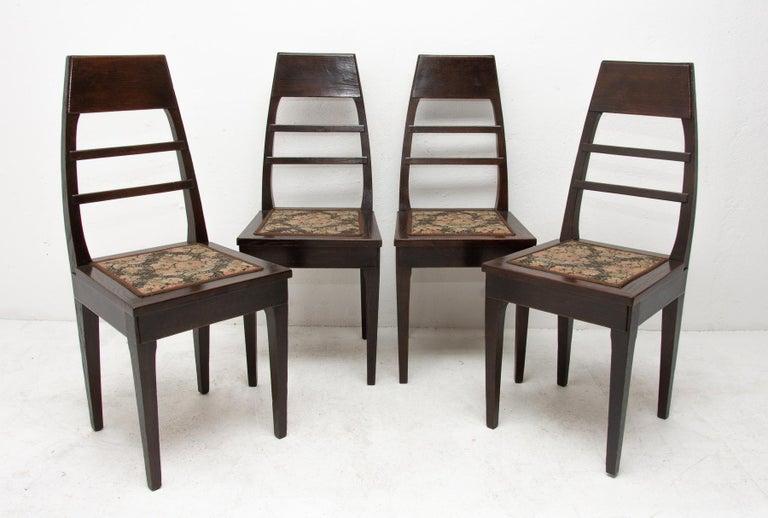 Austrian Antique Art Nouveau Oak Dining Chairs, Set of 4 For Sale