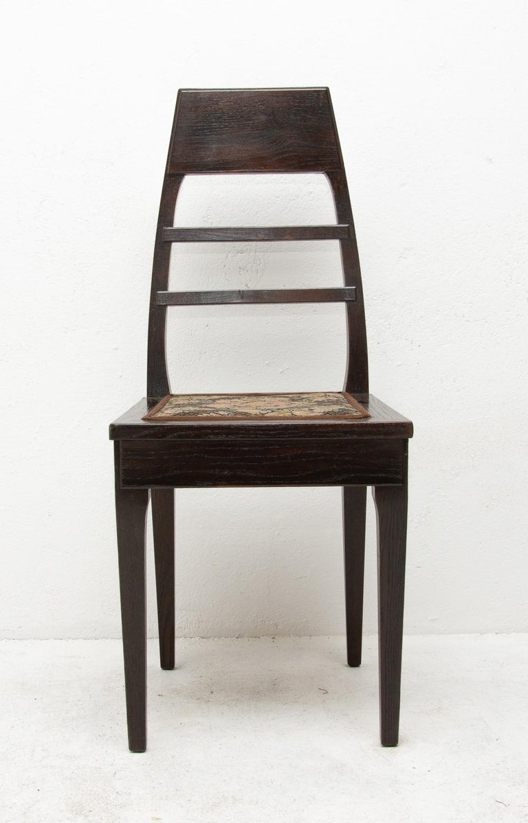 Antique Art Nouveau Oak Dining Chairs, Set of 4 In Good Condition For Sale In Prague 8, CZ