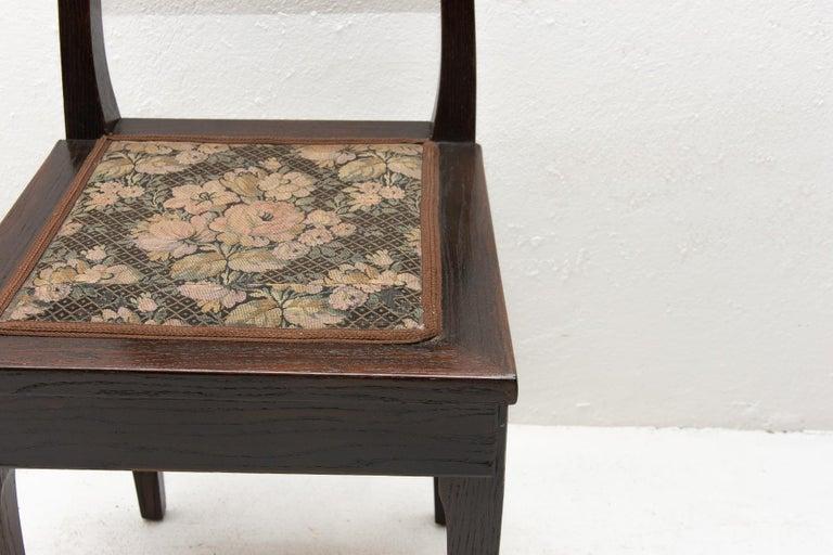 Antique Art Nouveau Oak Dining Chairs, Set of 4 For Sale 2
