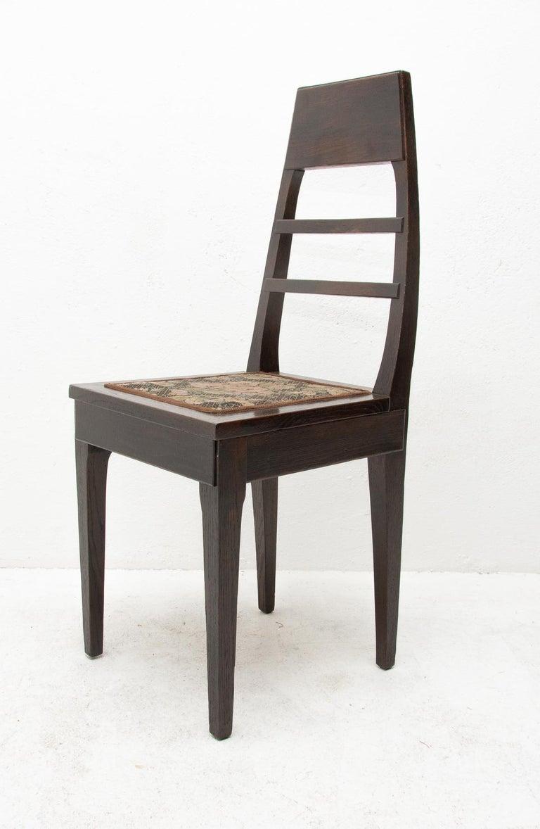 Antique Art Nouveau Oak Dining Chairs, Set of 4 For Sale 4